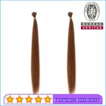 10A Remy Hair Grade Human Virgin Hair Straight 18inch Brown Color Flat Tip Hair Extension
