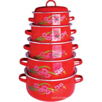 5PCS Set Enamel Casserole Pot