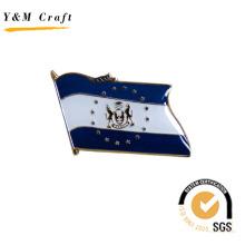 Bandeira nacional com dois cor distintivo lapela pin para presente (q09138)