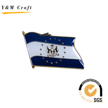 National Flag with Two Color Badge Lapel Pin for Gift (Q09138)
