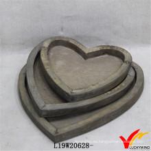 Venta al por mayor Love Heart Farmhouse Antique Wood Tray