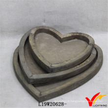 Vente en gros Love Heart Farmhouse Antique Wood Tray