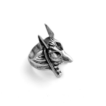 silver men's anubis wolf head Animal party Rings