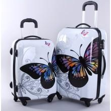 Valise à roulettes blanche PC à panneau papillon