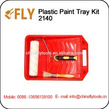 """9"""" Red Plastic Paint Tray Kit roller brush"""