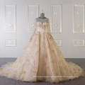 Muslim long sleeves wedding dress bridal gown gold