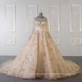 Мусульманские длинные рукава свадебное платье платье золото для новобрачных