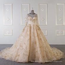 Vestido de novia musulmán de manga larga vestido de novia de oro
