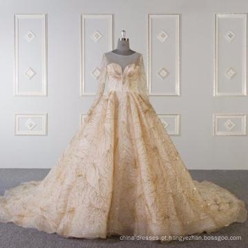 Mangas compridas muçulmanas vestido de noiva vestido de noiva de ouro