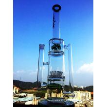 2016 Nuevo diseño impresionante Showerhead Inline Perc Recycler fumar tubo de vidrio de agua