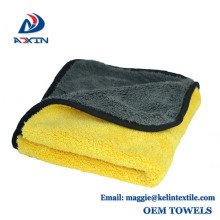 Quick dry car cleaning wash cloth microfiber coral fleece towel with custom size / packaging