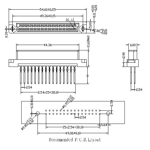Vertical Female Type Half B Compliant press-Fit Connectors 32 Positions
