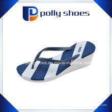 Damen Weiß Blau Bura Wedge Flip Flop Sandale Schuhe Neu