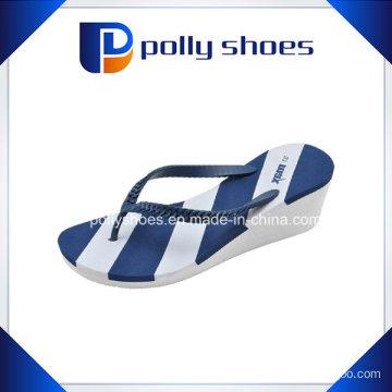 Women′s White Blue Bura Wedge Flip Flop Sandal Shoes New