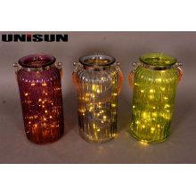 Mobilier Décoration Verrerie en verre avec éclairage en étain à cordes en cuivre (9113)