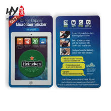 Microfiber sticky lcd screen cleaner with business card