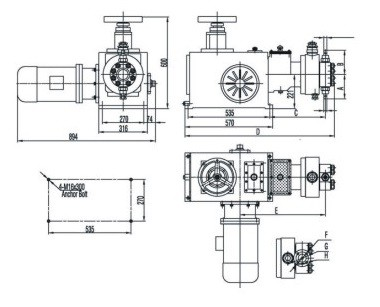 Hydraulic metering pump outline dimension