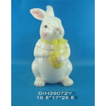 Easter Bunny Ceramic Storage Jar with Ribbon Decoration