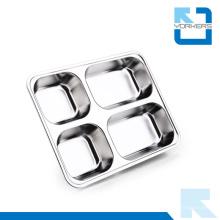4 divisores Bandeja de servir de alimentos de acero inoxidable con compartimentos Bandeja de comida dividida