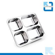 4 Dividers Stainless Steel Food Serving Tray with Compartments Divided Food Tray