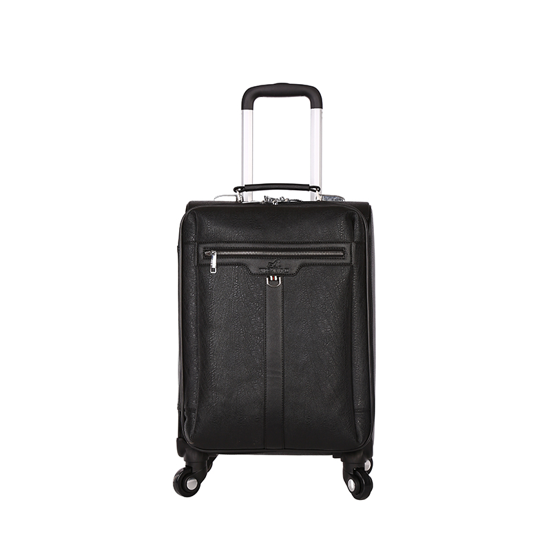 Promotion Gift 20'' 24'' 28'' Pu Leather Aluminum Trolley bag Travel Luggage Suitcase with Silence External Spinner wheels