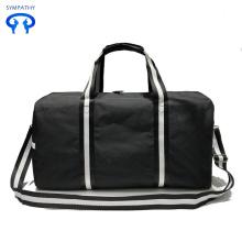 Bolsas de viaje de lona a rayas negras y blancas