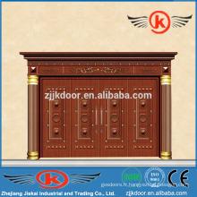 JK-C9020 porte d'entrée en cuivre commerciale avec prix d'usine porte à quatre vantaux