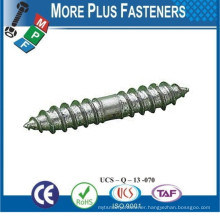 Made in Taiwan Zinc Plated Wood to Wood Metric Threaded Dowel Screw Furniture Screw