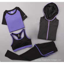 Wholesale price customized three pieces set athleisure yoga bra