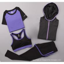 Preço de atacado personalizado três peças set athleisure yoga bra