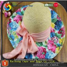 Chapeaux de paille pour femmes à la mode avec fleur en gros