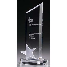 Popular fashionable star style crystal trophy
