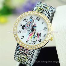 Reloj delicado del reloj de la venda de la aleación de la cebra 2015