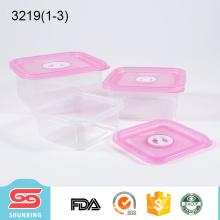 Recipiente de alimentos com compartimento de capacidade diferente de 3 quadrados com tampa
