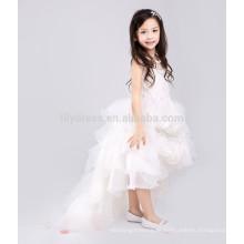 White A-Line Zipper Back Rosette Skirt Custom Flower Girl Dress Vestidos FGZ41 Vestido infantil