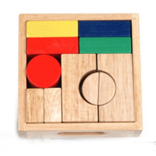 Wooden geometric block set for children