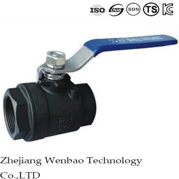 Válvula de bola de la forja femenina de Threas del acero de carbono 2PC con la manija manual