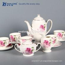 OEM logo Bone China 6 pessoas define Copo de café reutilizável de cerâmica fina