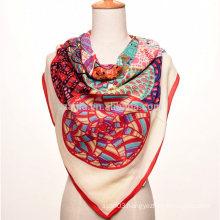Fashion floral print polyester square silk chiffon scarf
