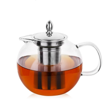 custom heat resistant borosilicate glass luxury large tea set teapot