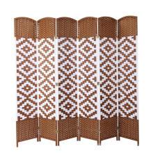 Wide Diamond Weave Fiber Room Divider White Diamond 6 Panels