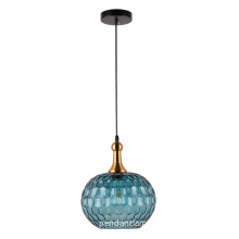 Glass modern pendant light with blue color