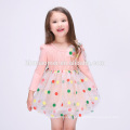 Venda quente de verão novo modelo de algodão menina vestido colorido ponto impresso menina desgaste diário vestido