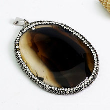 Fashion Precious Stone Gemstone Bead Agate Silce Necklace Pendant