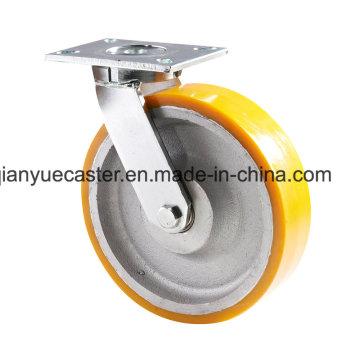 América Modelo Kingpin Menos rodillo giratorio de trabajo extra pesado, PU en caster Iron