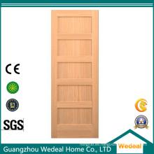 Puerta de madera de la losa clásica del álamo interior del panel 5 para el proyecto