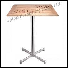 Table de bois en tôle d'aluminium extérieure carrée (SP-AT334)
