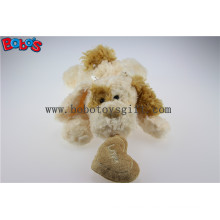 Beige Lying Lovely Plush Dog Toy with Brown Ear and Heart Pillow Bos1189