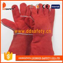 Guante de soldadura de piel dividida de vaca roja (DLW622)