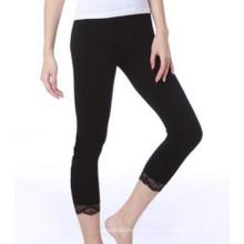 Bragas de encaje transparente negro Capri leggins medias chicas